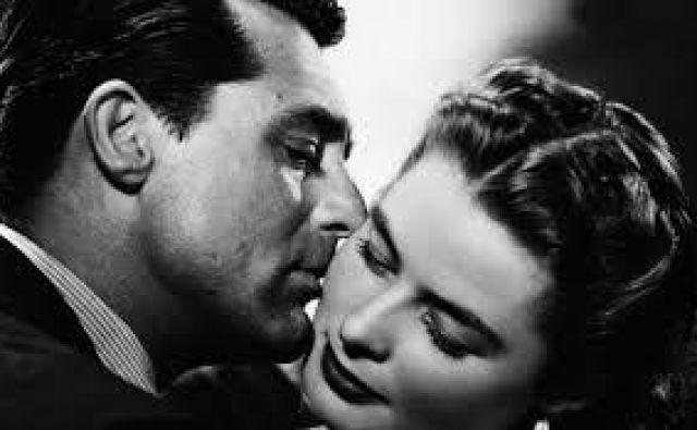 Cary Grant in Ingrid Bergman v razrezanem poljubu. Foto Promocijsko