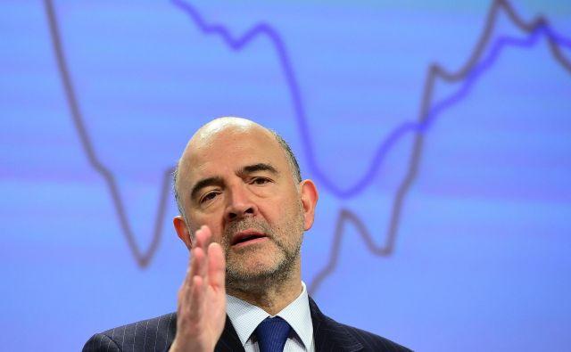 Evropski komisar za gospodarstvo Pierre Moscovici poziva k utrjevanju območja z evrom in pripravam na prihodnost, »kakršnakoli že bo«. FOTO: Emmanuel Dunand/AFP