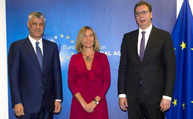 Zadnji krog dialoga med Srbijo in Kosovom je bil sredi julija, septembra sta se Vučić in Thaçi ločeno sestala s Federico Mogherini. FOTO: westernbalcans.com