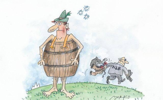 Nov začetek za NLB. Karikatura: Marko Kočevar