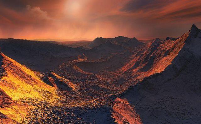 Umetniška upodobitev površja ledenega eksoplaneta. FOTO: ESO/M. Kornmesser