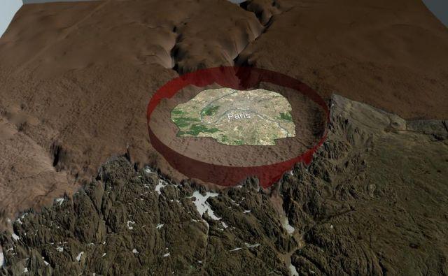 Krater je večji od Pariza. FOTO: Nasa