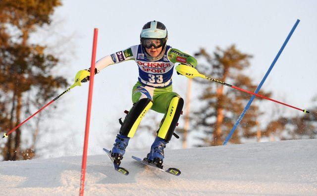 Meta Hrovat se je razveselila najboljše slalomske uvrstitve v karieri. FOTO: Markku Ulander/AFP