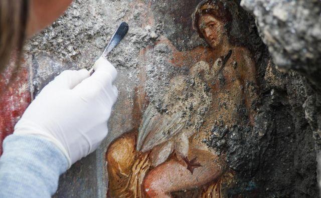 Fresko so odkrili v objektu, katerega raziskovanje je dediščino pompejanskih fresk že poleti obogatilo s podobno erotično fresko Priapa. FOTO: Cesare Abbate/AP