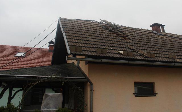 Voznik je potrgal kable in poškodoval strehi dveh hiš. FOTO: PU Novo mesto