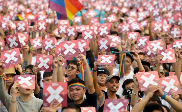 Tajvanski volivci so zavrnili predlog za legalizacijo istospolnih porok. Foto Chris STOWERS/ AFP