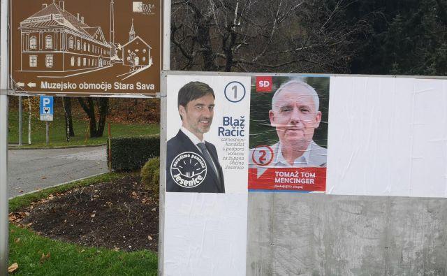 Volilna plakata na Jesenicah. FOTO: Neda Došenović
