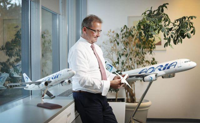Holger Kowarsch, direktor Adrie Airways, je dejal da bi z operacijami na SSJ100 lahko omogočili večjo kapaciteto na letalih bombardier in airbus za storitev ACMI (zakup letala s posadko).Foto Leon Vidic