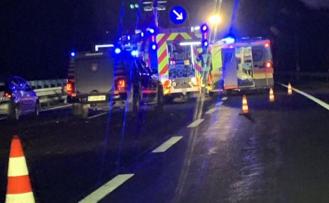 Huda prometna nesreča na primorski avtocesti. FOTO: Moni Černe