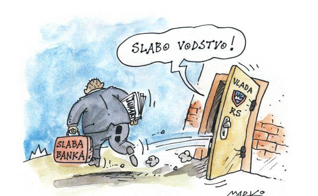 Slaba banka kljub novim šefom z uglednimi imeni ostaja avgijev hlev. Karikatura: Marko Kočevar
