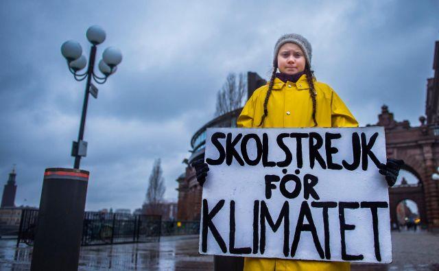 15-letna Greta Thunberg z napisom »Šolska stavka za podnebje« pred švedskim parlamentom.FOTO: Tt News Agency/Reuters