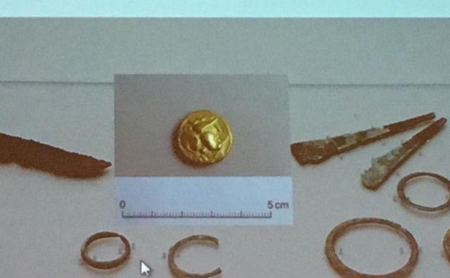 »Že zlatnik kot tak je v Sloveniji redka najdba. Kolikor vem, je to tretji zlatnik s slovenskih najdišč in, kot kaže, tudi najstarejši.« je poveadla Lucija Grahek z inštituta za arheologijo. Foto ZRC Sazu