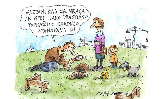 Reševanje stanovanjskega problema seveda ni nov izziv Slovencev, ga pa gospodarska rast očitno ni zmanjšala. KARIKATURA: Marko Kočevar