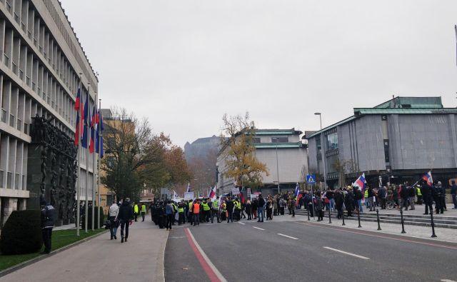 Proti sporazumu, ki je bil danes potrjen v Marakešu, so tudi danes protestirali pred državnim zborom. Prvi protest je potekal ob izredni seji državnega sporazuma na to temo. Izredno sejo je zahtevala stranka SDS, k protestom je tedaj pozval Janez Janša. FOTO: Delo