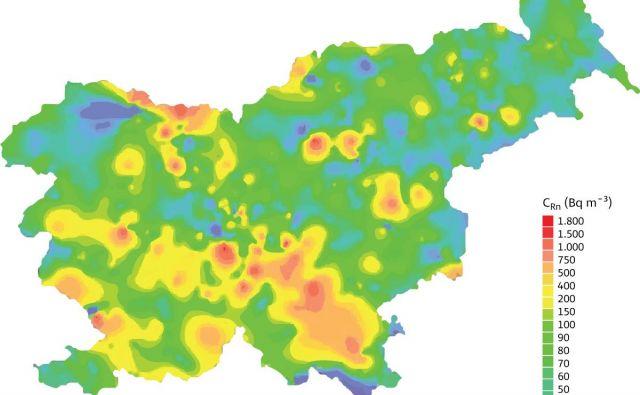 Koncentracije radona po Sloveniji FOTO: Delo/infografika