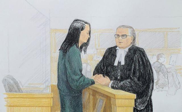 Risba, na kateri Mengova govori z odvetnikom na sodišču. FOTO: Jane Wolsak/AFP