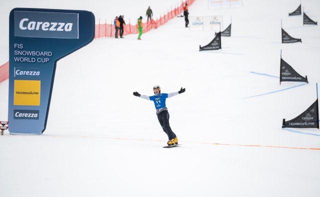 Tim Mastnak je tretjič zapored stopil na veleslalomski zmagovalni oder, dvakrat si je tudi pokoril konkurenco. FOTO: Miha Matavž/FIS SKI