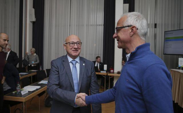 Bogdan Gabrovec (levo) je na volitvah predsednika OKS prejel plebiscitarno podporo. FOTO: Jože Suhadolnik/Delo