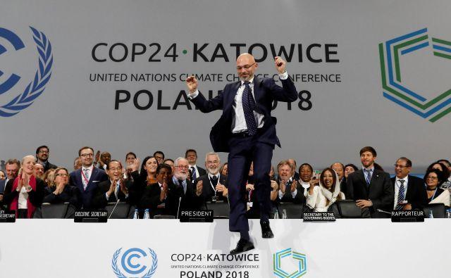 Predsedujoči COP24 Michal Kurtyka je navdušen nad rezultatom. FOTO: Kacper Pempel/Reuters