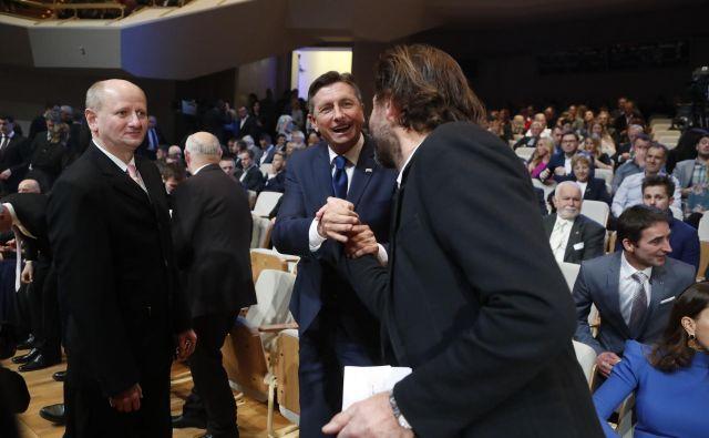 Predsednik države Borut Pahor nikoli ni skrival svoje naklonjenosti do športa, njegov goriški znanec Andrea Massi pa ne tega, da je zahteven in načelen mož. Foto Leon Vidic