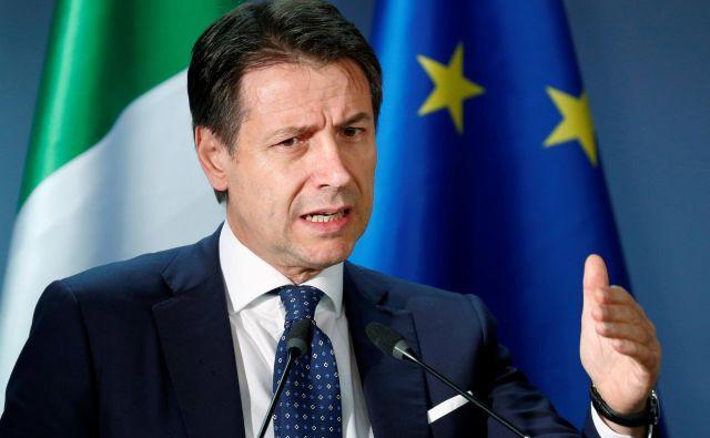 Italijanski premier Giuseppe Conte med nedavnih vrhom voditeljev EU v Bruslju. FOTO: REUTERS/Francois Lenoir