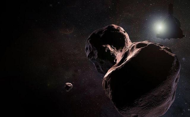 Umetniška upodobitev sonde New Horizons pri Ultimi Thule, za katero pa ne vedo natančno, kako je videti. Po novem letu pa se že lahko nadejamo posnetkov od blizu in razkritih skrivnosti. FOTO: Nasa