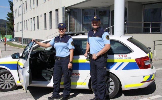 Valerija Vrhovnik in Boštjan Kulovec sta s hitrim in odločnim ukrepanjem preprečila tragedijo. FOTO: PU Novo Mesto