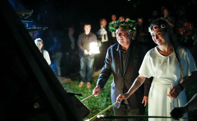 Drago Jančar, doslej edini štirikratni lavreat nagrade kresnik, na kresni večer na Rožniku Foto Uroš Hočevar