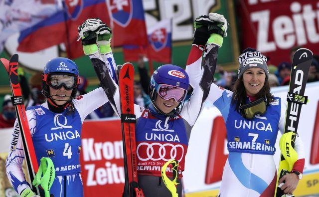 Venček najboljših slalomistk. FOTO: Giovanni Auletta/AP