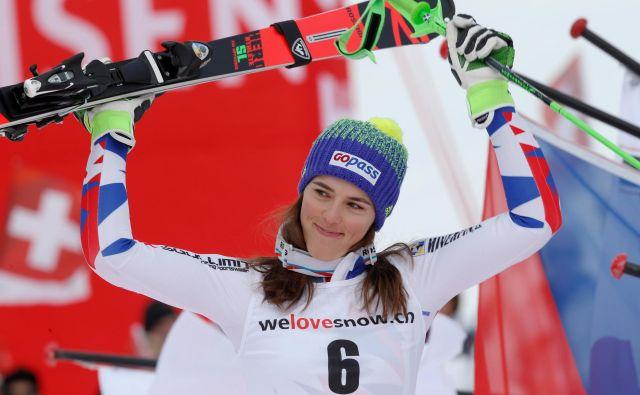 Petra Vlhova je v Oslu v paralelni tekmi vendarle ugnala tudi Mikaelo Shiffrin. FOTO: Stefano Rellandini/Reuters