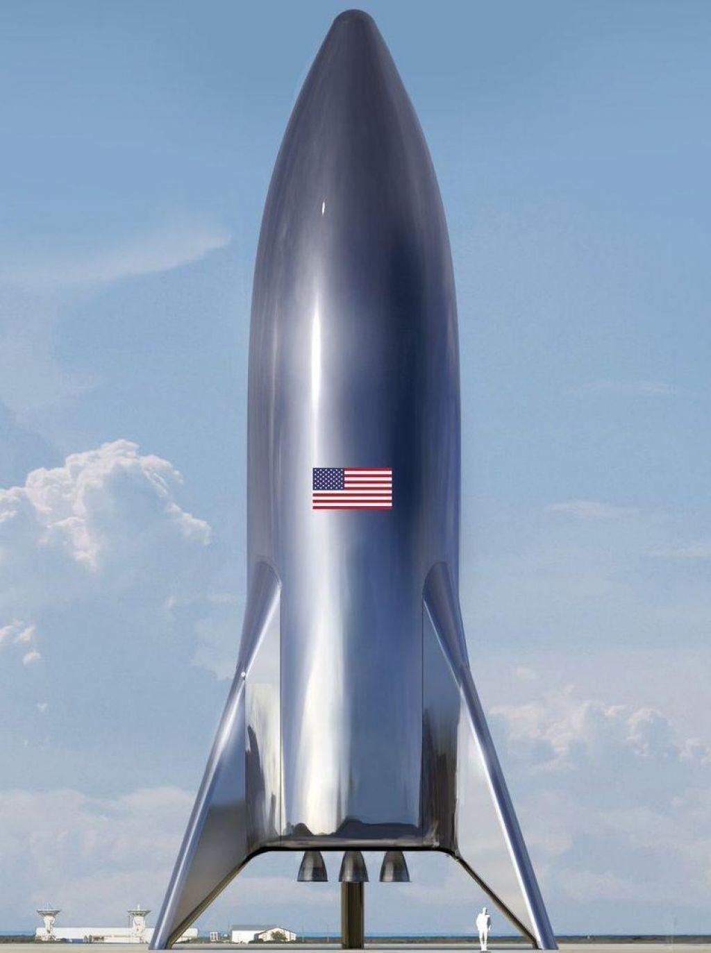 Muskobjavil upodobitev testne vesoljske ladje Starship