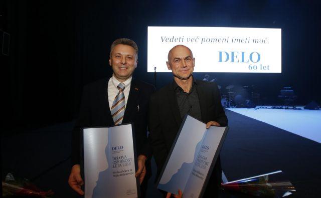 Delovi osebnosti leta 2018 dr. Uroš Ahčan in dr. Vojko Didanovič sta nagrado razumela kot spodbudo za nadaljevanje vrhunskega dela. FOTO: Matej Družnik