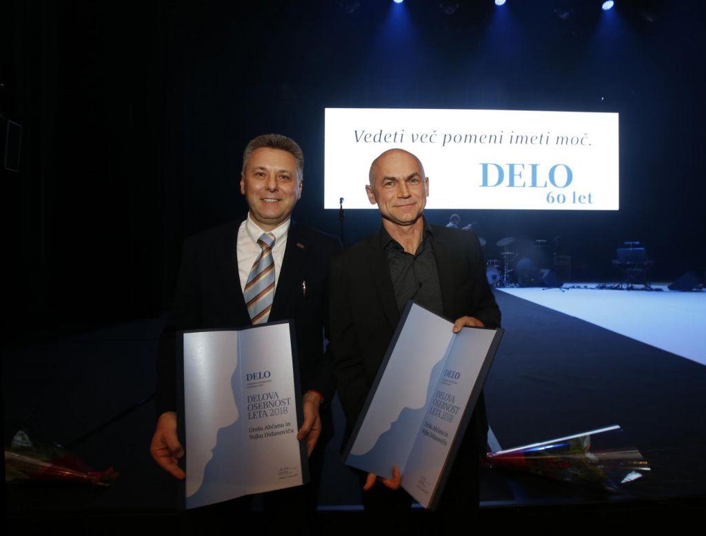 FOTO:Delovi osebnosti leta 2018 sta dr. Uroš Ahčan in dr. Vojko Didanovič