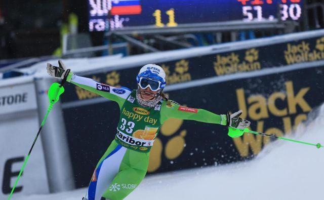 Ilka Štuhec je nazadnje v Mariboru tekmovala pred dvema sezonama. Na krilih uspeha je dosegla uvrstitvi kariere v tehničnih disciplinah. V veleslalomu je bila 14., v slalomu 10. FOTO: Tadej Regent/Delo