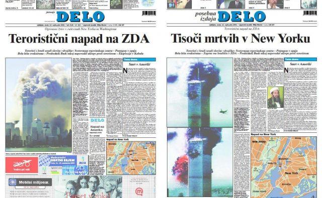 Naslovnici redne in posebne izdaje Dela po terorističnem napadu na ZDA 11. septembra 2001. FOTO: Dokumentacija Dela