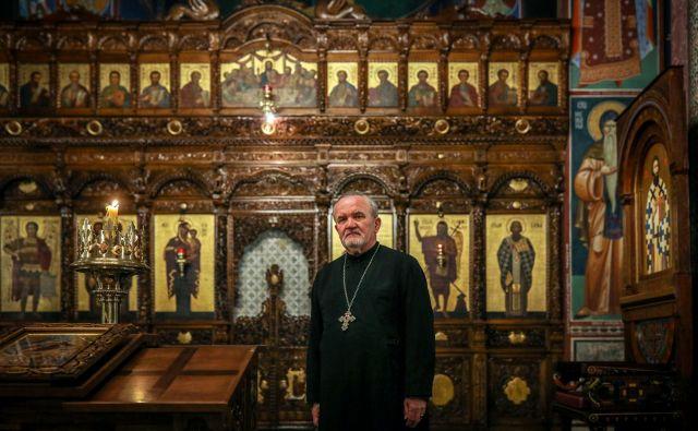 Peran Bošković v pravoslavni cerkvi v Ljubljani. FOTO: Voranc Vogel