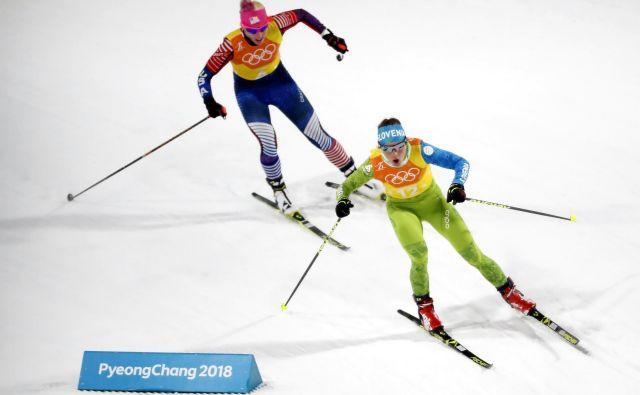 Alenka Čebašek tako visoko kot danes v posamični konkurenci še ni bila. FOTO: Matej Družnik/Delo