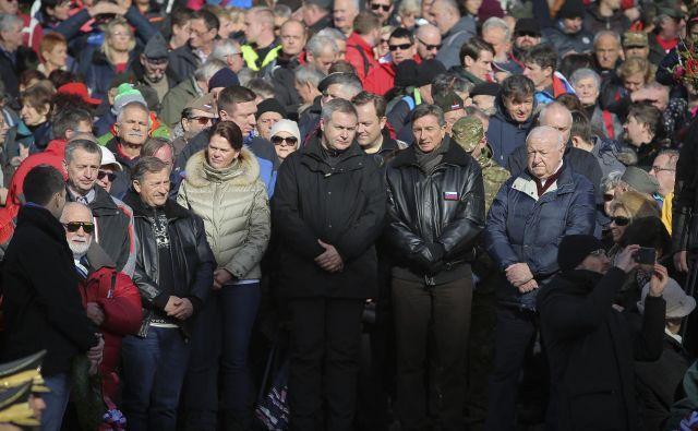 Proslave so se udeležili tudi Borut Pahor, Milan Kučan, Alenka Bratušek, Karl Erjavec, Zoran Janković in Iztok Purić FOTO: Jože Suhadolnik/Delo