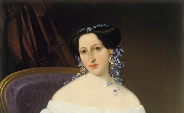 Portret Luize Pesjak iz nekoliko poznejšega časa (ok. 1855) Mihaela Stroja. Hrani narodna galerija.