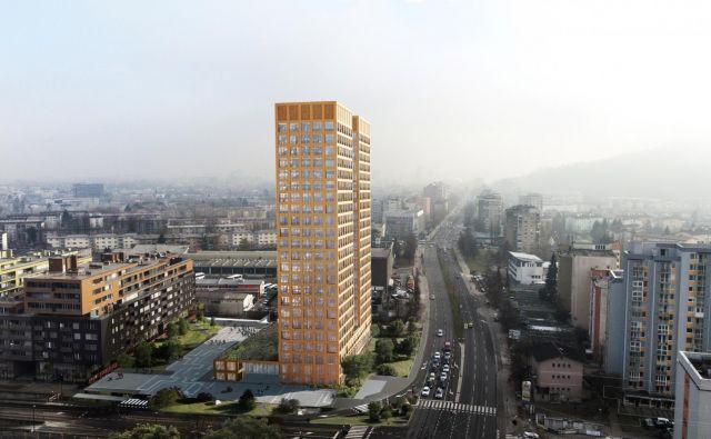 Spektra Invest namerava v prihodnjih dveh letih ob Celovški zgraditi 85 metrov visoki stolpnici. FOTO: Spektra Invest