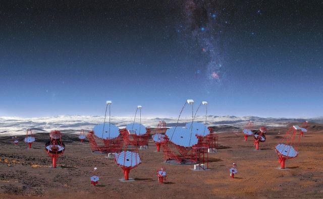Ilustracija 99 teleskopov, ki jih bodo postaviliznotraj območja observatorija Paranal Evropskega južnega observatorija (ESO) na severu Čila.<br /> FOTO: CTA/M-A. Besel/IAC (G.P. Diaz)/ESO