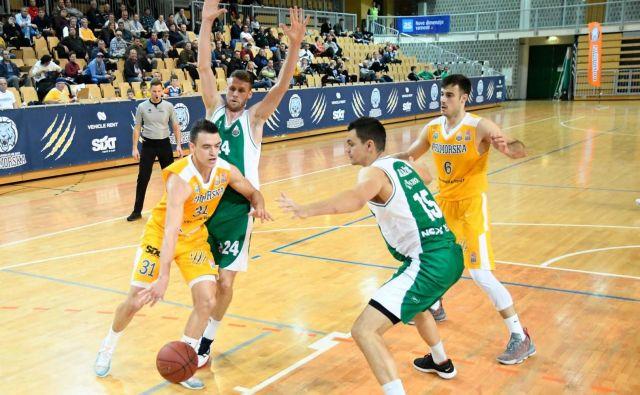 Žan Mark Šiško (z žogo) in Marjan Čakarun (6) sta se tudi v Novem mestu veselila zmage. (FOTO: Sixt Primorska/Žiga Mikeli