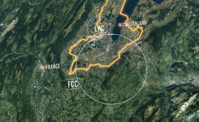 Primerjava obsegov trenutnega trkalnika in predlaganega. FOTO: CERN