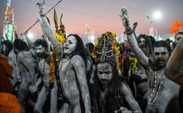 Hindujski sveti možje na festivalu Kumbh Meli v Allahabadu. Indijski državni organi pričakujejo 12 milijonov obiskovalcev, ki bodo prišli na stoletni festival, ki se je uradno začel 15. januarja in so bo končal v začetku marca.Foto Chandan Khanna Afp