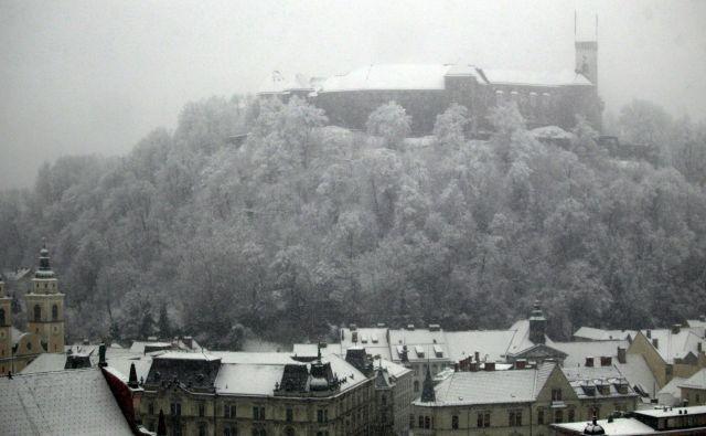 Sneg je pobelil Ljubljano. Foto Roman Šipić/delo