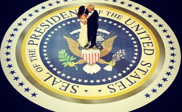 Melania in Donald Trump na prvem predsedniškem plesu. FOTO: Twitter