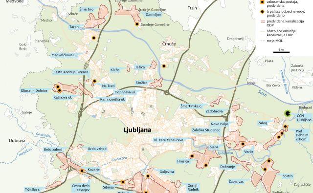 Gradnja manjkajoče kanalizacije v MOL v okviru evropskega projekta aglomeracij nad 2000 PE. Delo Infografika
