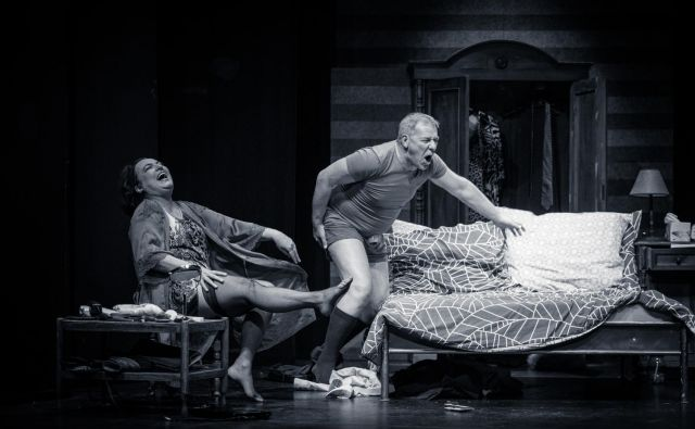 S težavami v partnerskem odnosu se srečujeta tudi Delia (Mojca Partljič) in Ernest (Aleš Valič). Foto Jaka Varmuž