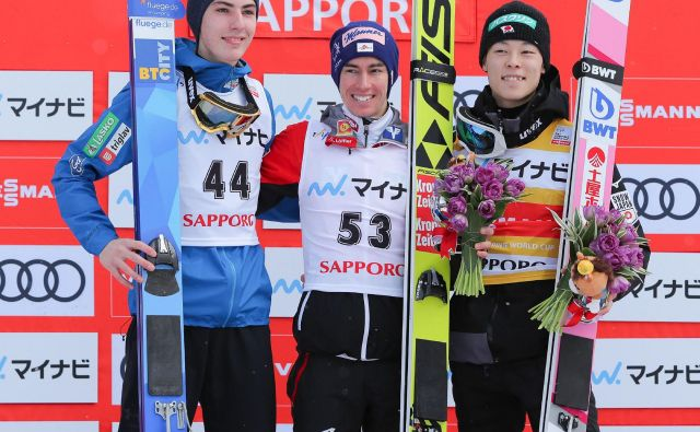 Timi Zajc je bil v Sapporu prvič med najboljšimi tremi. FOTO: AFP