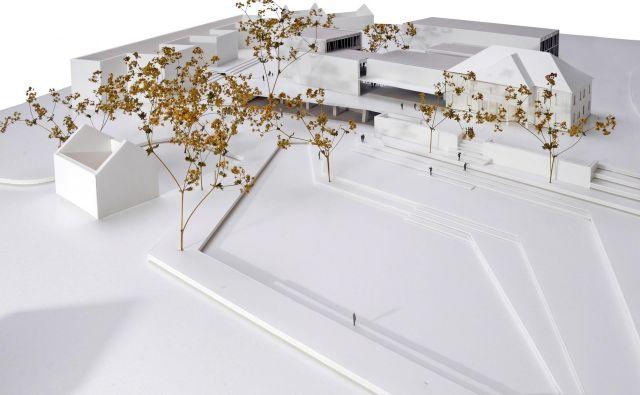 Nova podoba bodočega Narodnega doma z dvema dvoranama in knjižnico z galerijo, kavarno in upravnim delom. Vir Knjižnica Logatec